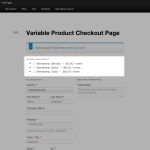 Variations Displayed Separately on One Page Checkout
