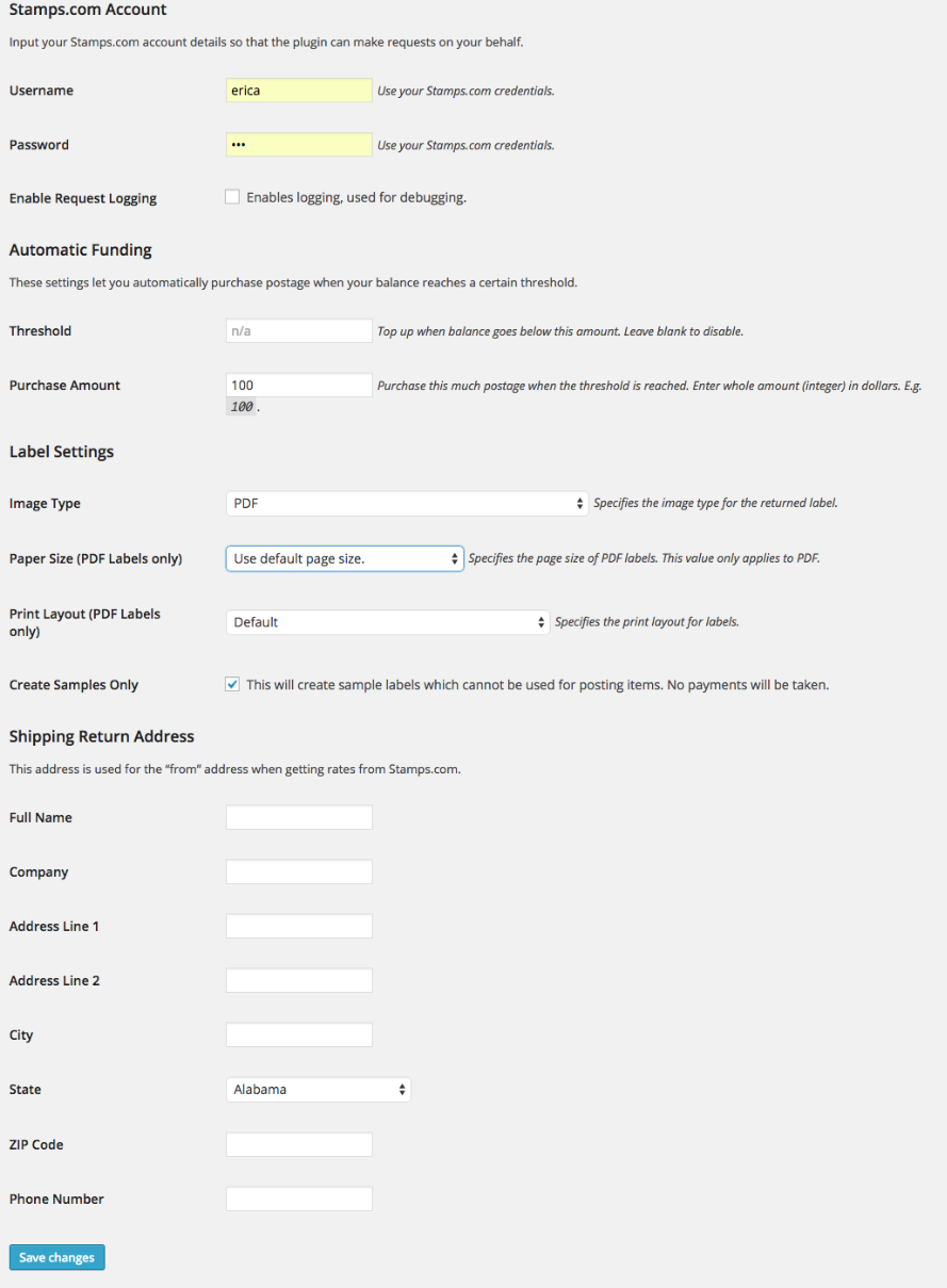 Stamps com API Integration - WooCommerce Docs