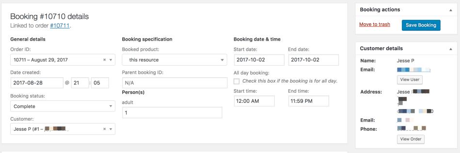 Bookings Edit Booking