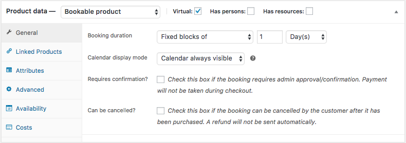 Bookable Product General Settings