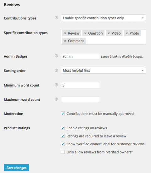 WooCommerce Product Reviews Pro Settings