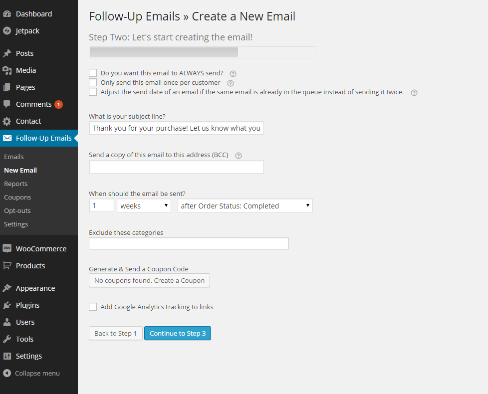 follow up emails use case send a request for review after a