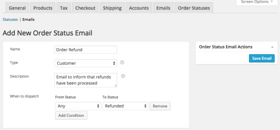 Nouvel e-mail dans WooCommerce Order Status Manager