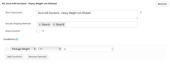 Example 1 – Rule #2: Exclude Zone A/B if weight >= 2kg.