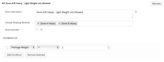 Example 1 – Rule #3: Exclude Zone A/B Heavy if weight < 2kg.
