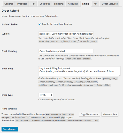 WooCommerce Order Status Manager Edit New Emails