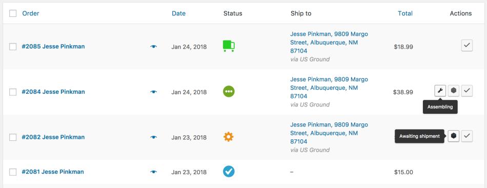 WooCommerce Order Status Manager: статусы в действии