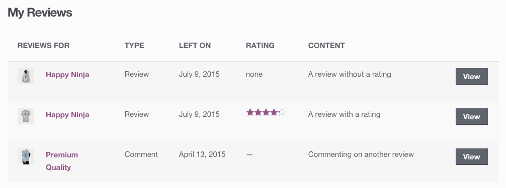 woocommerce-product-reviews-pro-my-reviews - WooCommerce Docs
