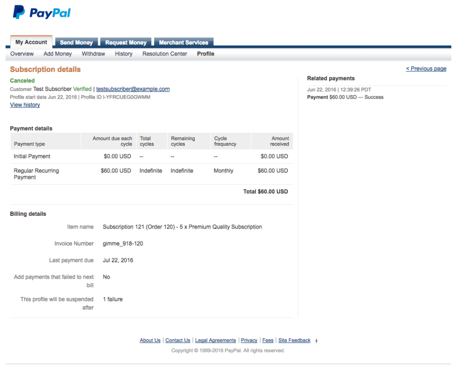 PayPal Subscription Details Page Screenshot