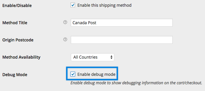 Enable Canada Post debug mode
