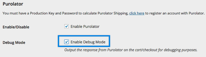 Enable Purolator debug mode