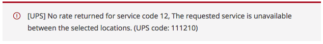 UPS sample error message
