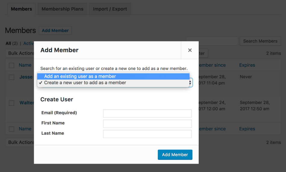 WooCommerce Memberships add new member, step 1
