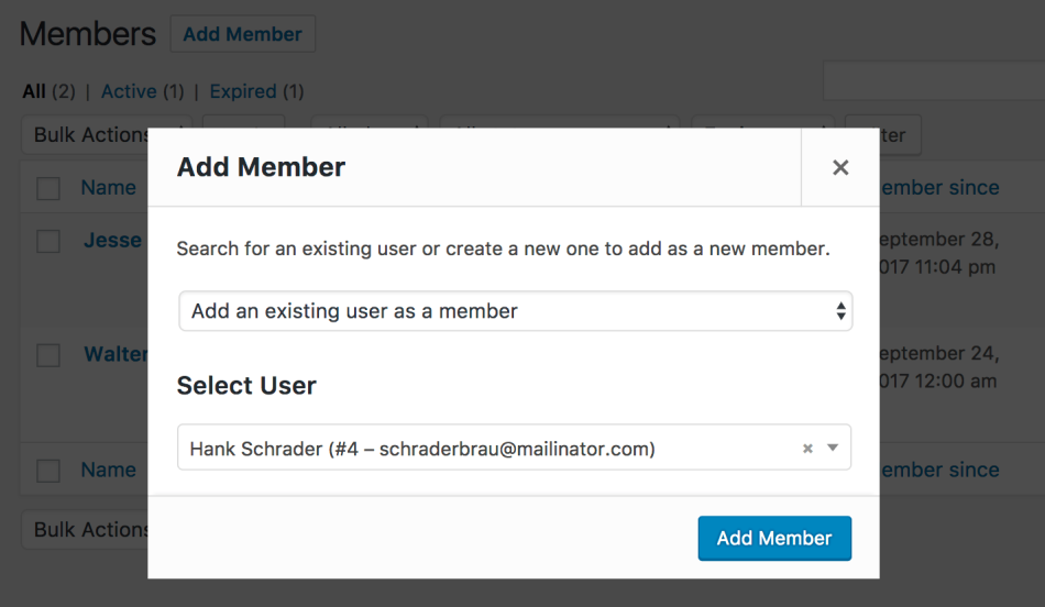 WooCommerce Memberships add new member, step 2