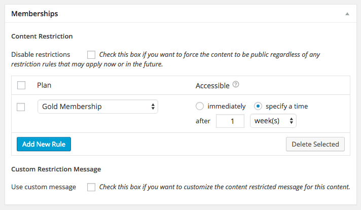 WooCommerce Memberships content meta box