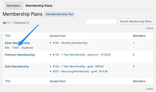 WooCommerce memberships delete plan