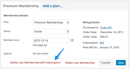 WooCommerce Memberships Delete with Subscription