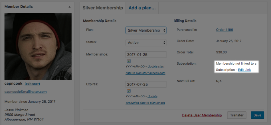 WooCommerce Memberships edit subscription link