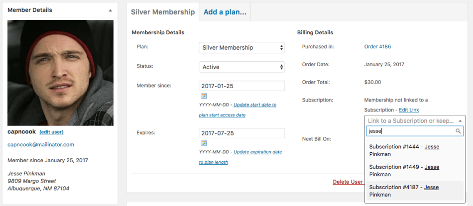 WooCommerce Memberships: Search for subscription