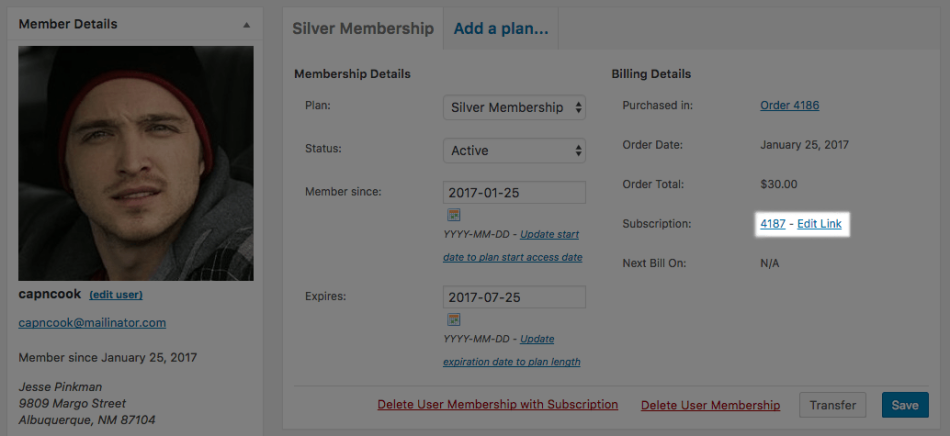 WooCommerce Memberships linked subscription