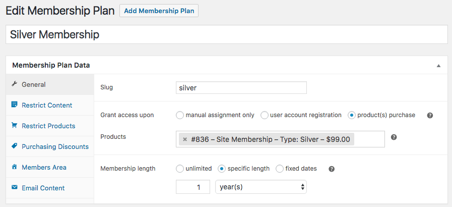 WooCommerce memberships: general plan data