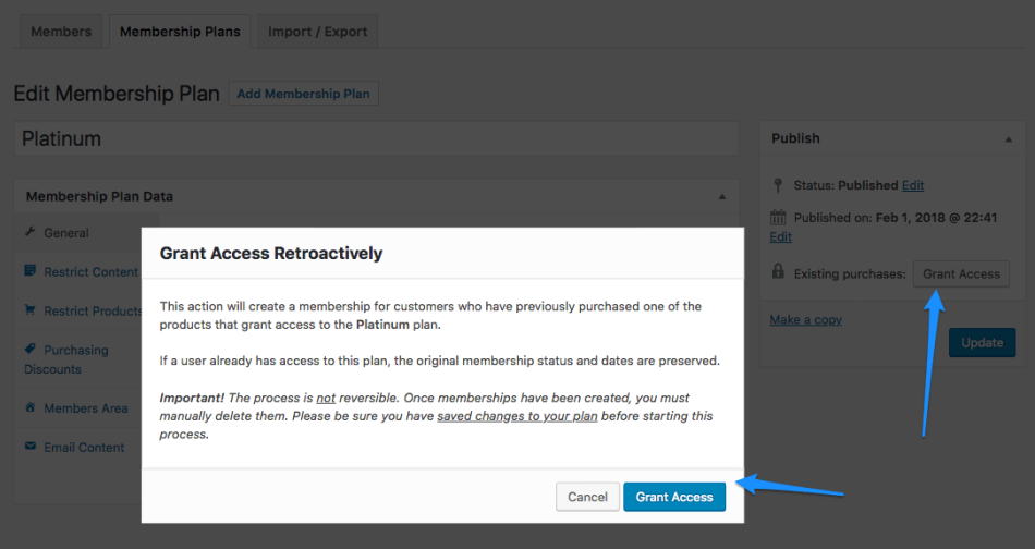 WooCommerce Memberships grant retroactive access