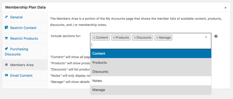 WooCommerce Memberships member area settings