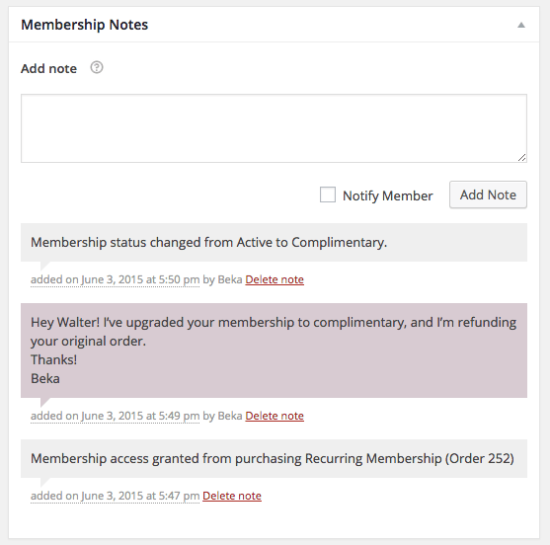 WooCommerce Memberships membership notes