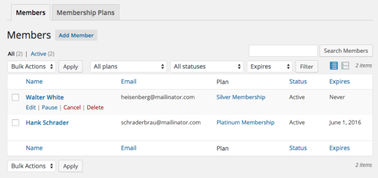 WooCommerce Memberships User Memberships