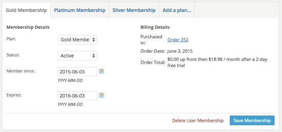 WooCommerce memberships membership details
