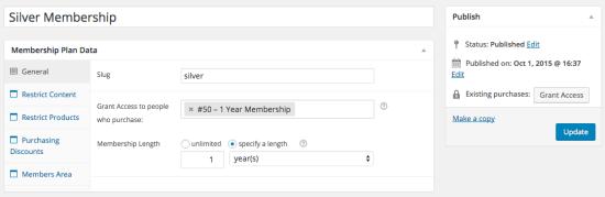 WooCommerce memberships General Plan Data