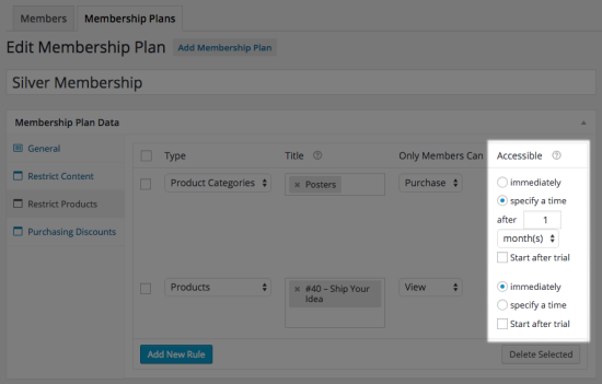 WooCommerce Memberships product dripping with trial