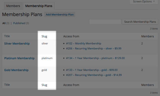 WooCommerce Memberships plan slugs