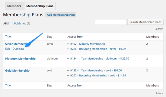WooCommerce Memberships Duplicate Plans