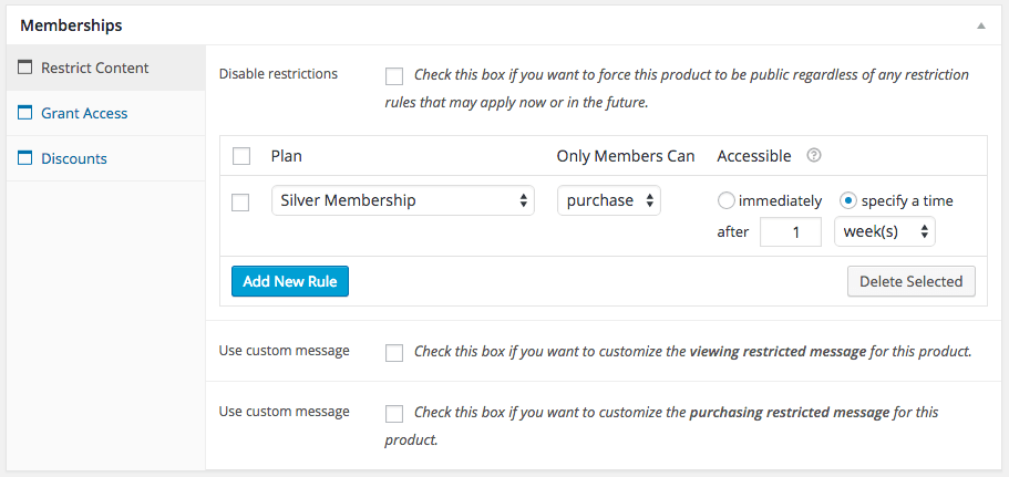WooCommerce memberships restrict product
