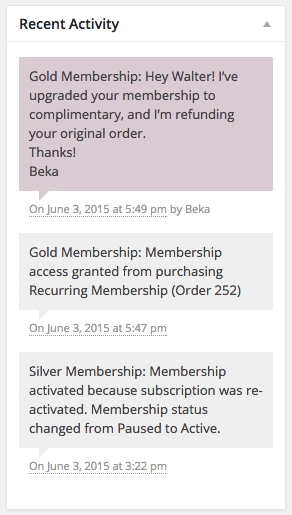 WooCommerce Memberships recent activity