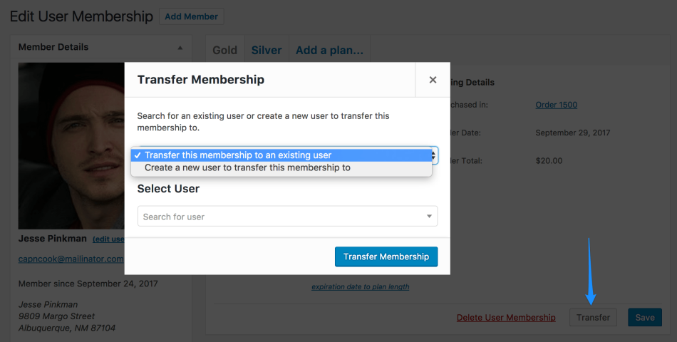 WooCommerce Memberships Transfer User Membership