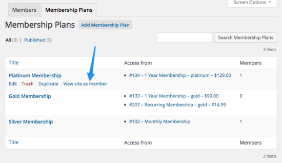 WooCommerce Memberships View as Member