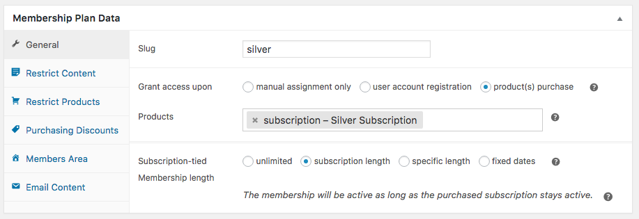 WooCommerce memberships: subscription length tied to membership