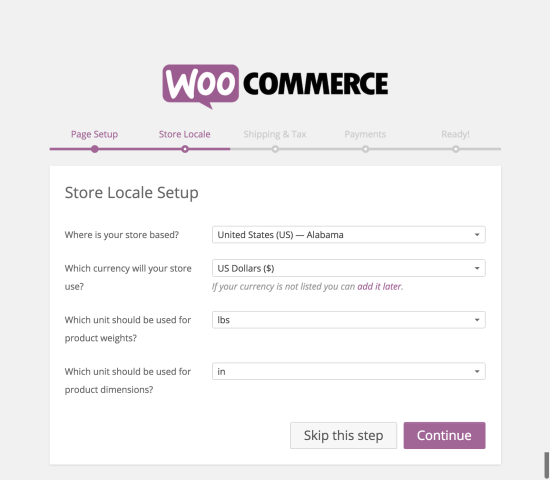 WooCommerce Setup Wizard - Store Locale setup
