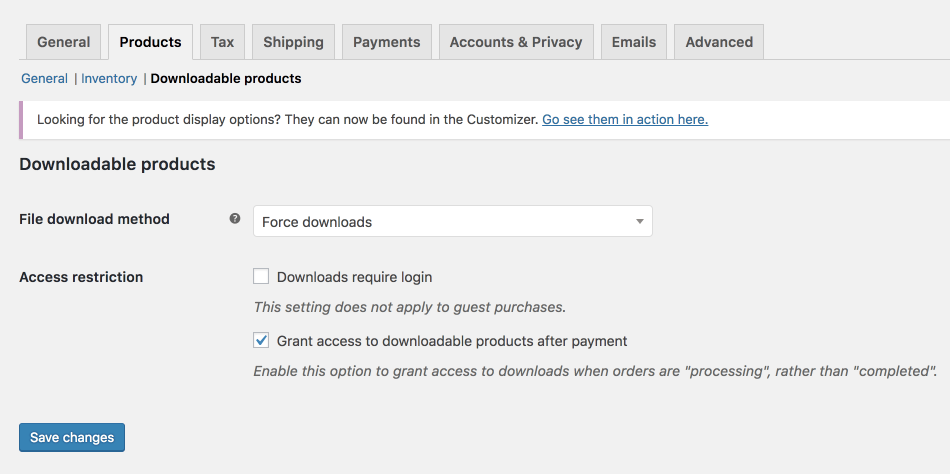 Configuring WooCommerce Settings - WooCommerce Docs