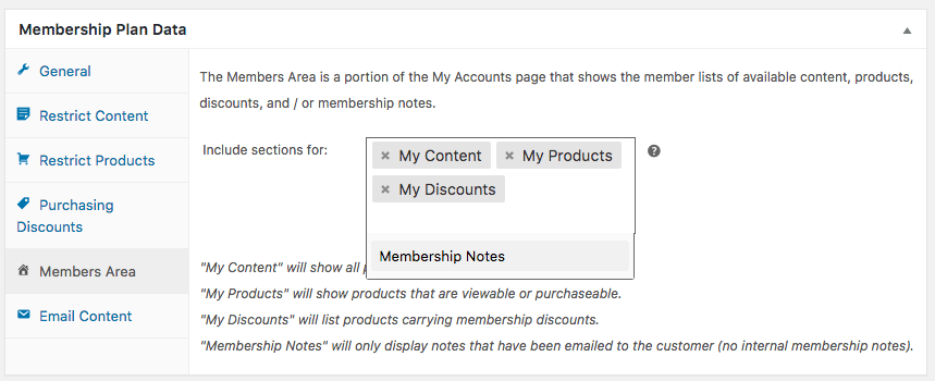 WooCommerce Memberships: member area settings