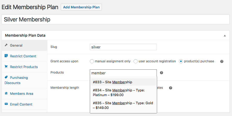 WooCommerce Memberships: Access selector