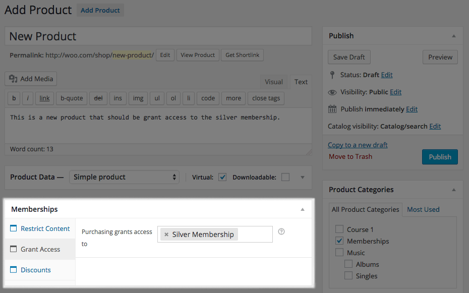 WooCommerce Memberships product meta box