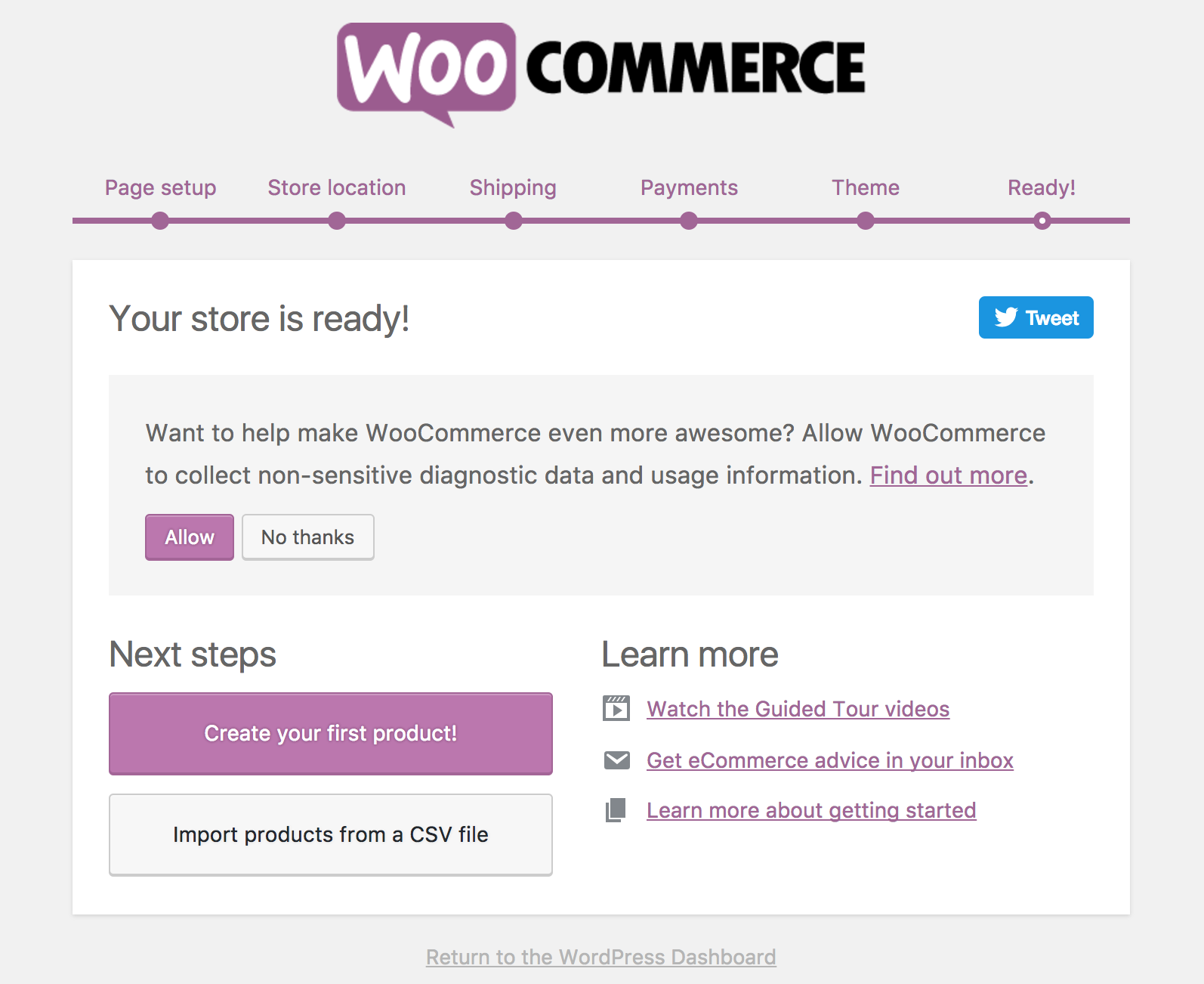 Image result for woocommerce setup wizard
