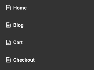 The default Storefront handheld navigation styles, demonstrating the 'page' icon.