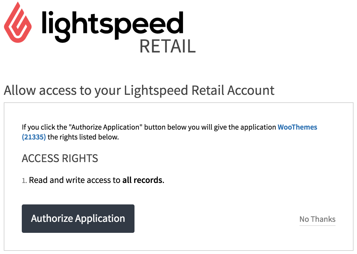 Lightspeed Authorization Screen