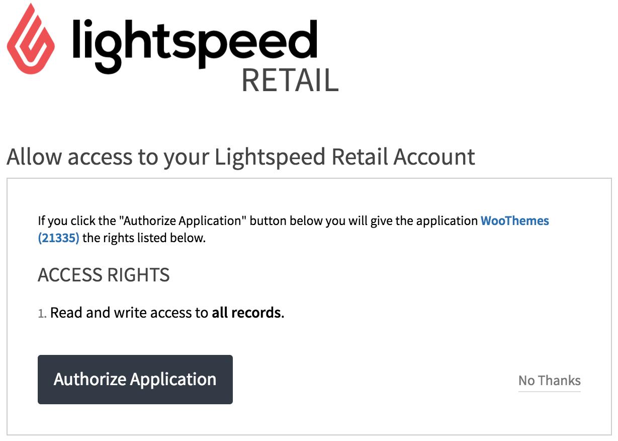 Lightspeed Authorization Screen