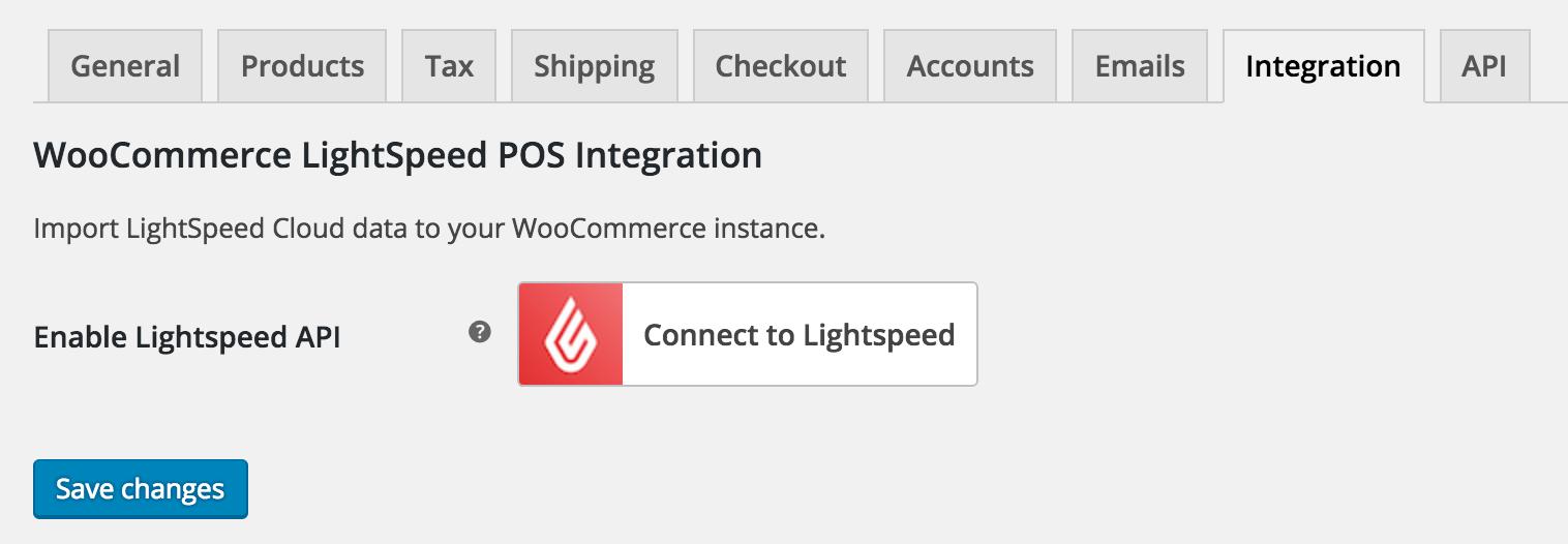 WooCommerce Lightspeed POS Settings Page