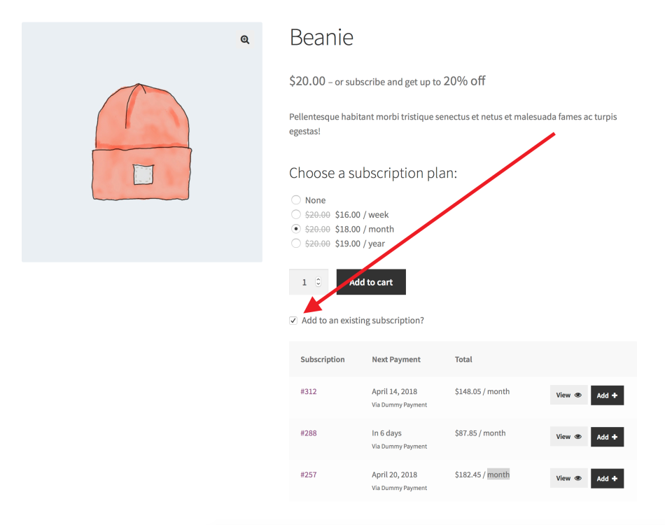 All Products for WooCommerce Subscriptions Add to Existing Subscription Feature Screenshot